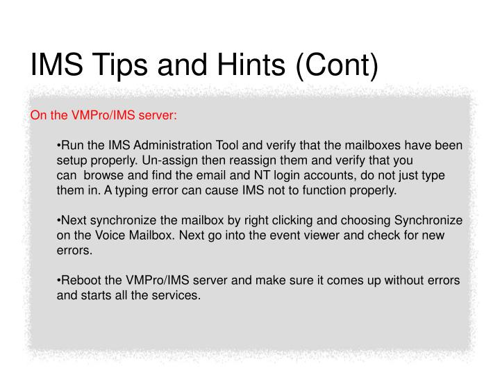 IMS Tips and Hints (Cont)