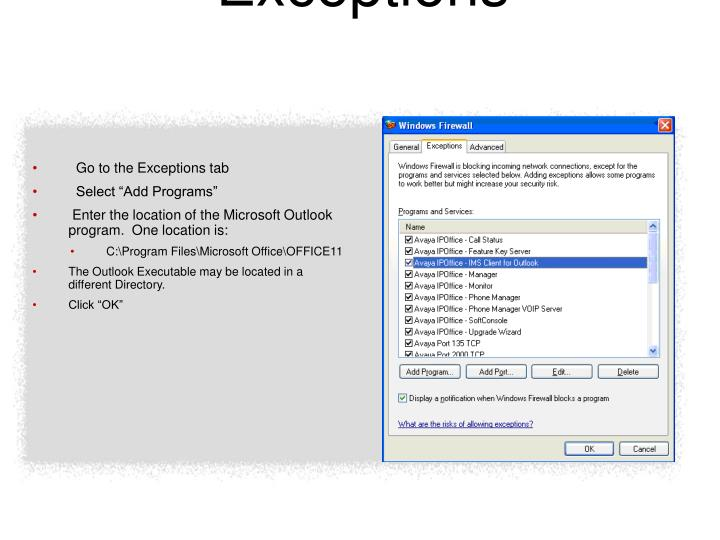 Windows Firewall Exceptions