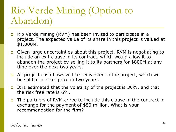 Rio Verde Mining (Option to Abandon)