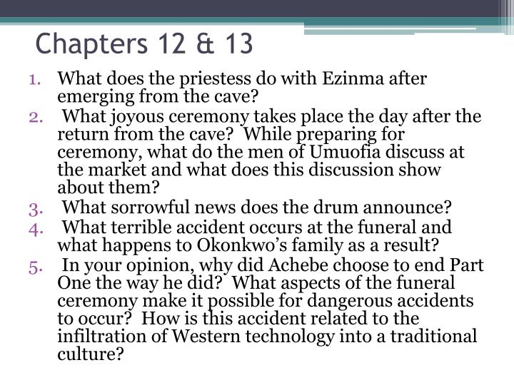 the destruction of umuofia In chinua achebe's things fall apart, the two major changes to umuofia brought about by western influence include the introduction of christianity and white settlers bringing eurocentric models of government these two changes forever alter the region when christianity first enters the regions, the men of umuofia.