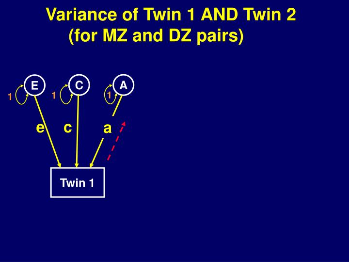 Variance of Twin 1 AND Twin 2