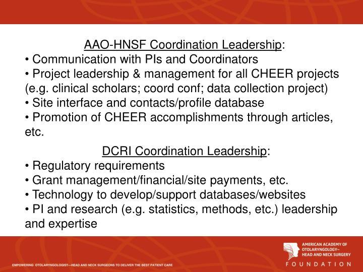 AAO-HNSF Coordination Leadership