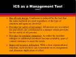 ics as a management tool cont