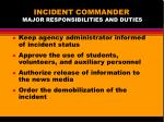 incident commander major responsibilities and duties