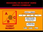 managing an incident using unified command