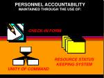 personnel accountability maintained through the use of
