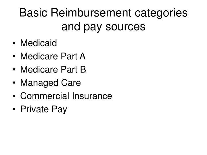 Basic Reimbursement categories and pay sources
