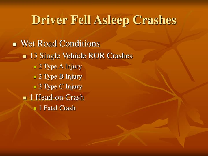 Driver Fell Asleep Crashes