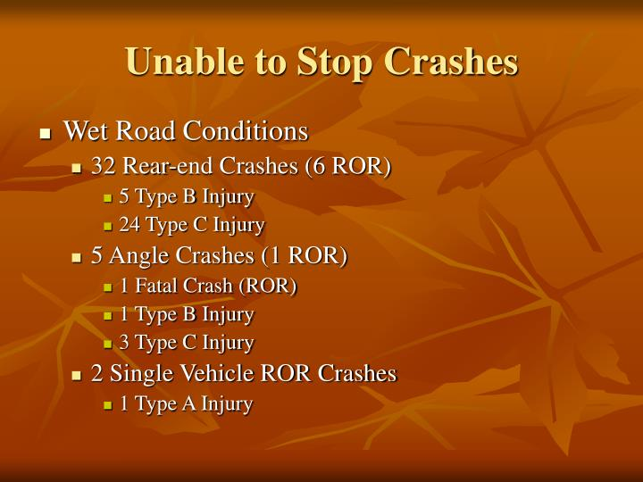 Unable to Stop Crashes