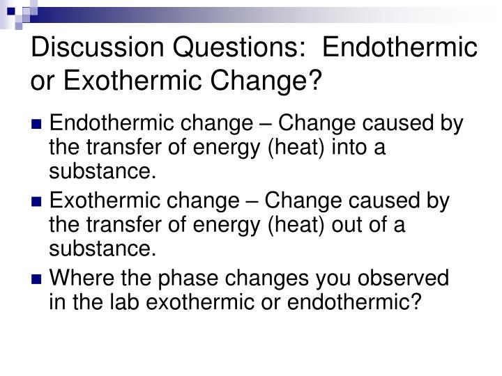 Discussion Questions:  Endothermic or Exothermic Change?