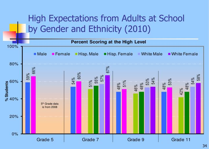 High Expectations from Adults at School    by Gender and Ethnicity (2010)