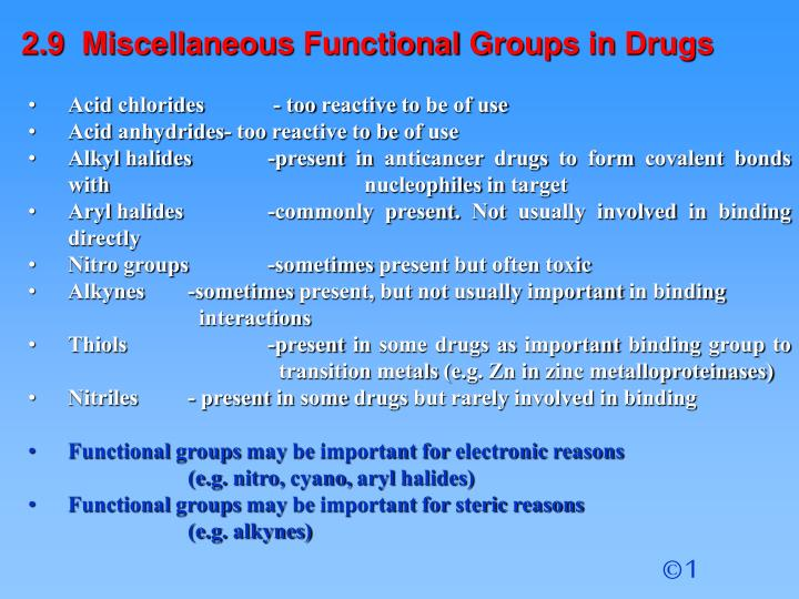2.9  Miscellaneous Functional Groups in Drugs