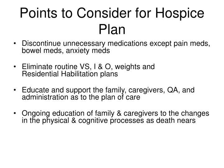 Points to Consider for Hospice Plan