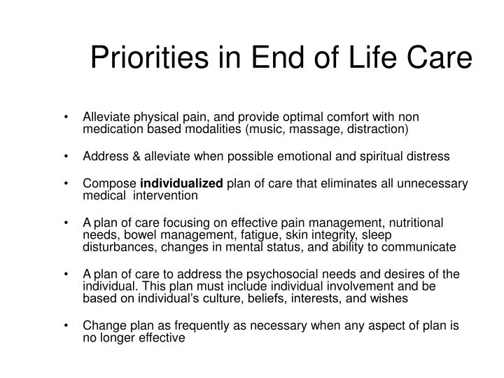 Priorities in End of Life Care