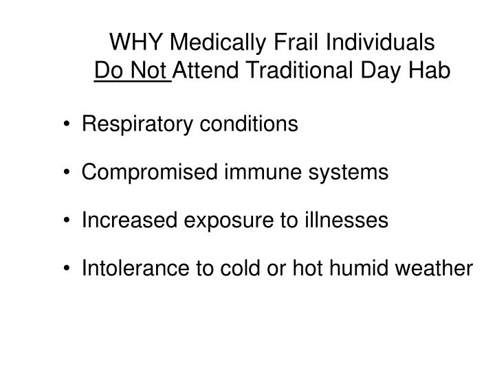 WHY Medically Frail Individuals
