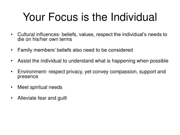 Your Focus is the Individual