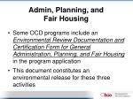 admin planning and fair housing