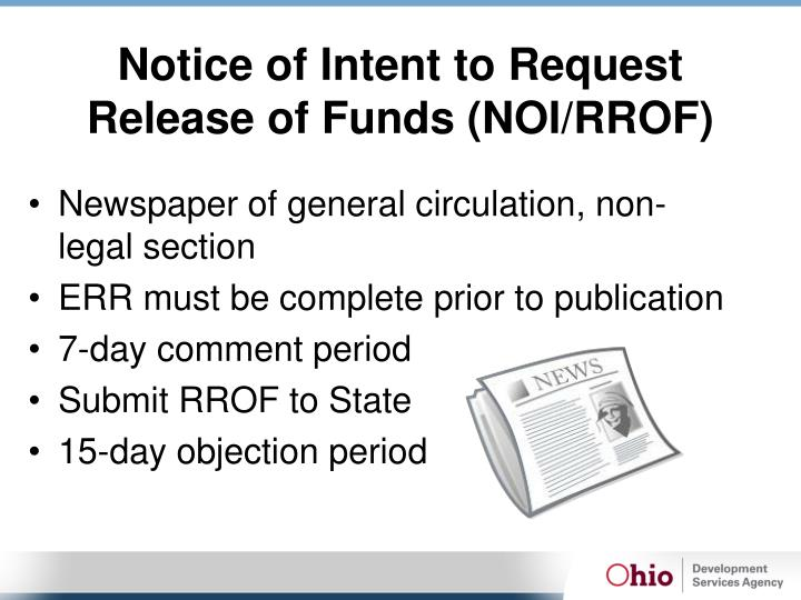 Notice of Intent to Request Release of Funds (NOI/RROF)