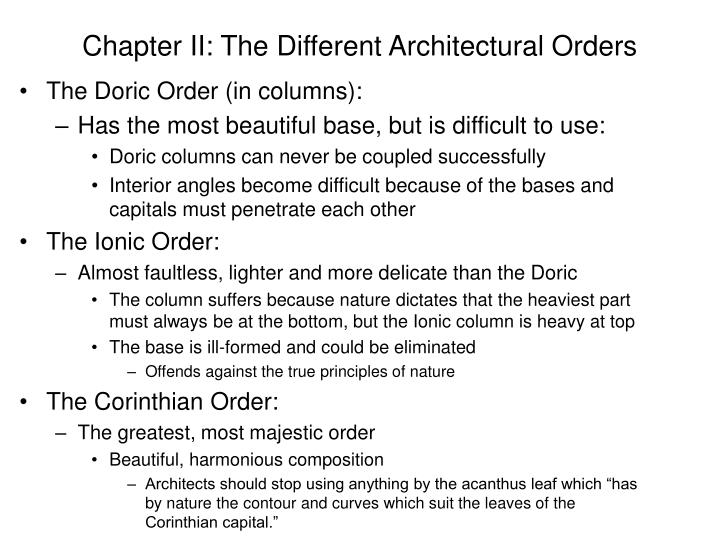 Chapter II: The Different Architectural Orders