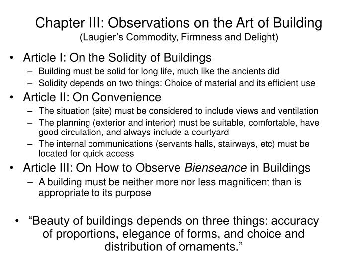 Chapter III: Observations on the Art of Building