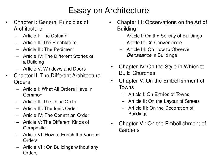 Essay on architecture
