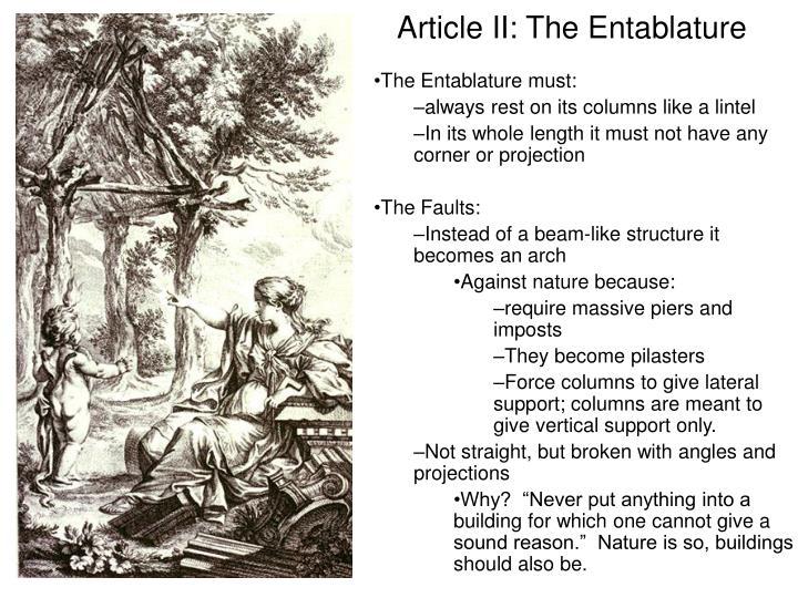 Article II: The Entablature