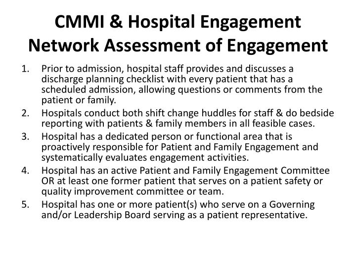 CMMI & Hospital Engagement Network Assessment of Engagement