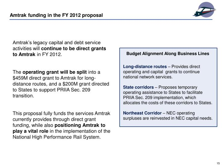 Amtrak funding in the FY 2012 proposal