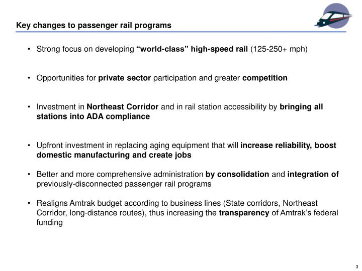 Key changes to passenger rail programs