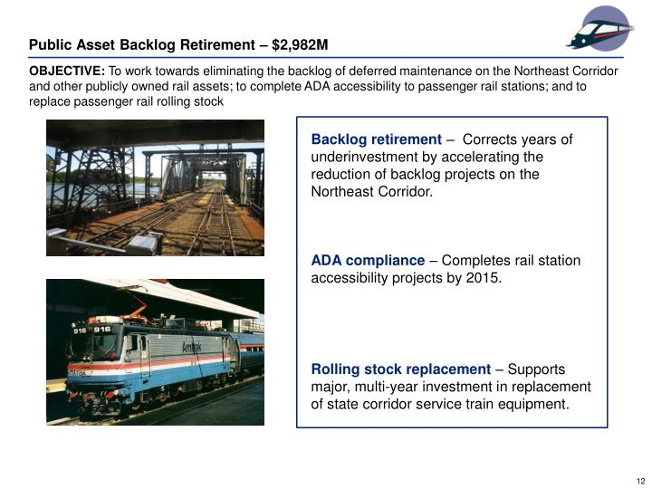 Public Asset Backlog Retirement – $2,982M