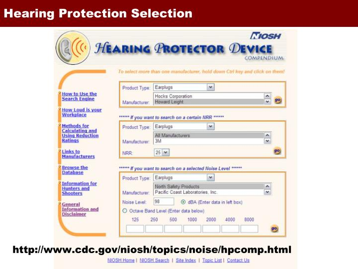 http://www.cdc.gov/niosh/topics/noise/hpcomp.html