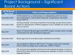 project background significant board actions