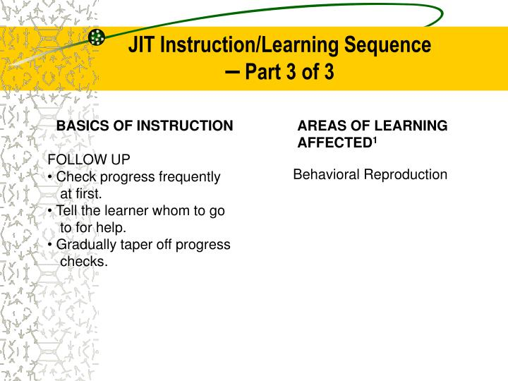 JIT Instruction/Learning Sequence