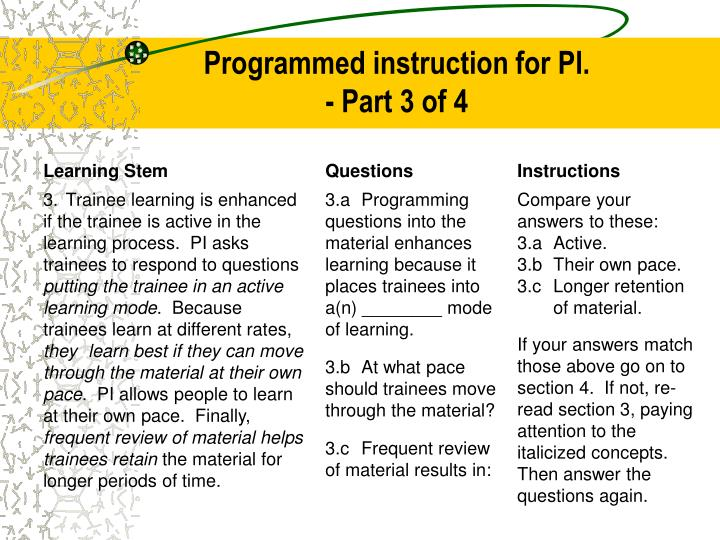 Programmed instruction for PI.