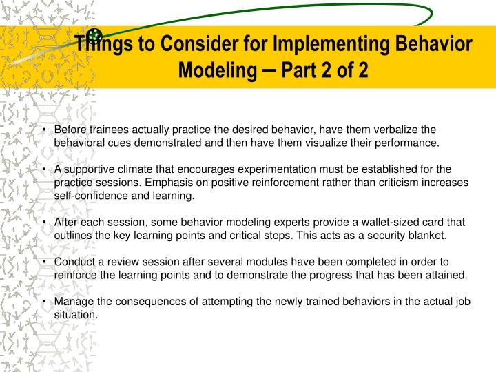 Things to Consider for Implementing Behavior Modeling