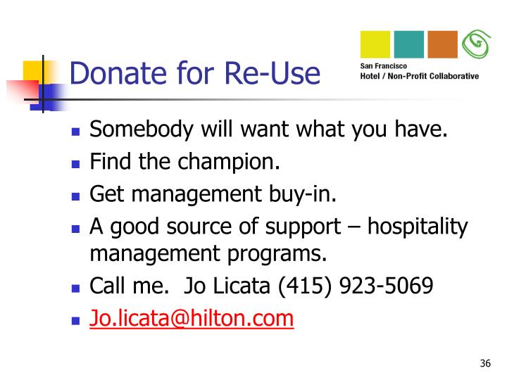 Donate for Re-Use