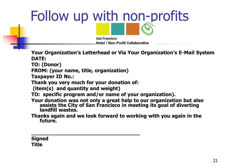 Follow up with non-profits