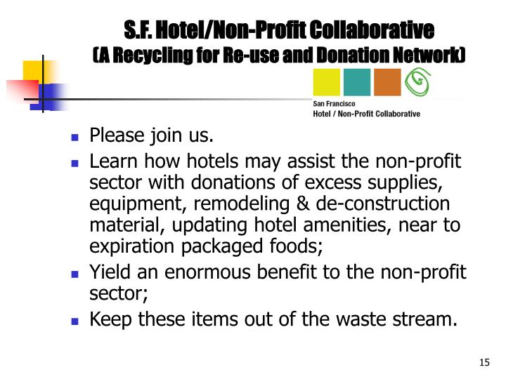 S.F. Hotel/Non-Profit Collaborative