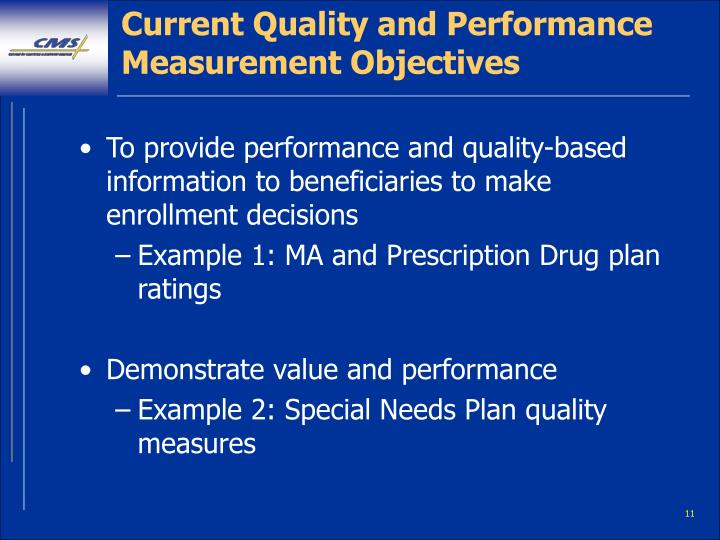 Current Quality and Performance Measurement Objectives