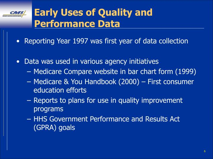 Early Uses of Quality and Performance Data