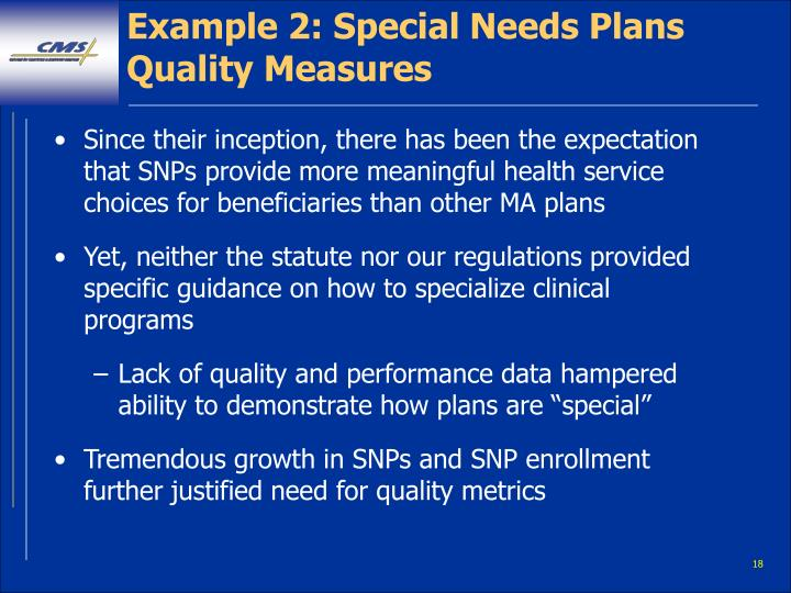 Example 2: Special Needs Plans Quality Measures