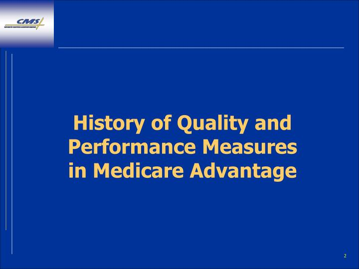 History of quality and performance measures in medicare advantage