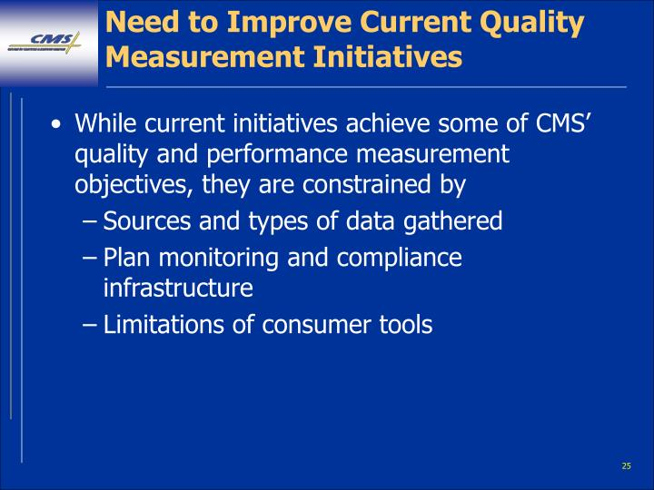 Need to Improve Current Quality Measurement Initiatives