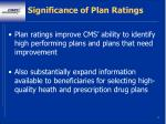 significance of plan ratings