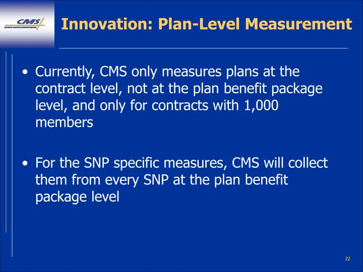Innovation: Plan-Level Measurement