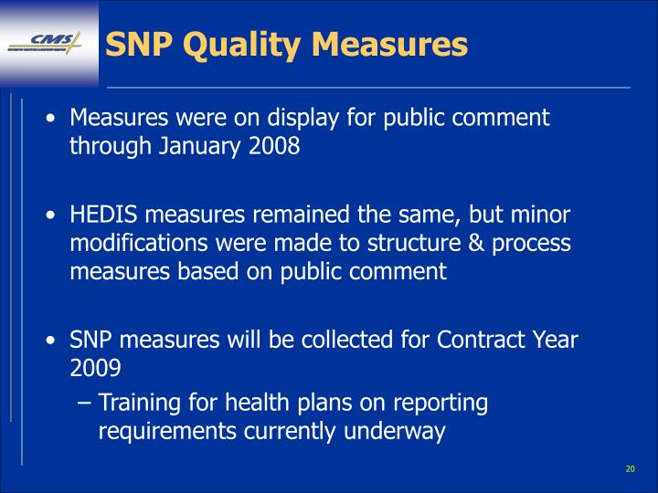 SNP Quality Measures