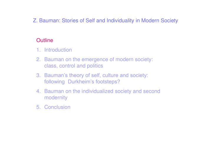 Z. Bauman: Stories of Self and Individuality in Modern Society