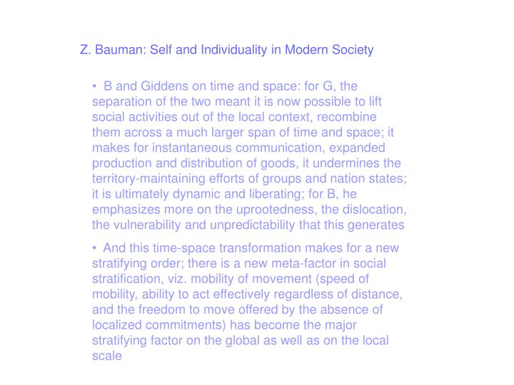Z. Bauman: Self and Individuality in Modern Society