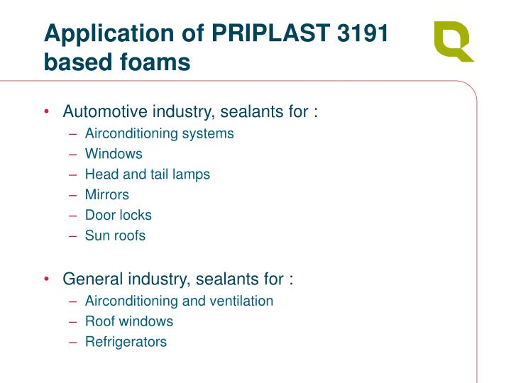 Application of PRIPLAST 3191 based foams