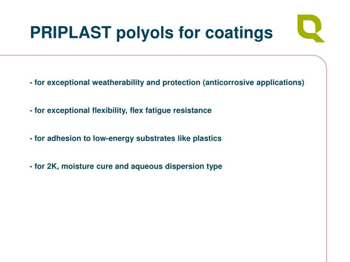 PRIPLAST polyols for coatings